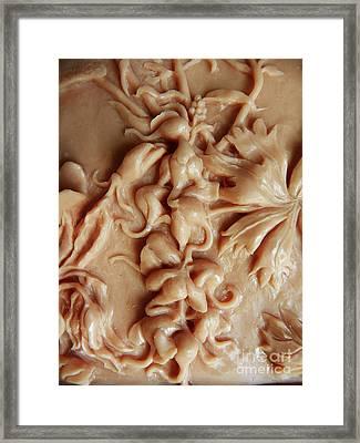 Mountain Meadow Original Clay Relief - Elephanthead Detail Framed Print by Dawn Senior-Trask