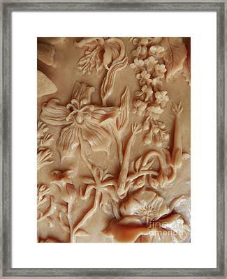 Mountain Meadow Original Clay Relief - Geranium Detail Framed Print by Dawn Senior-Trask