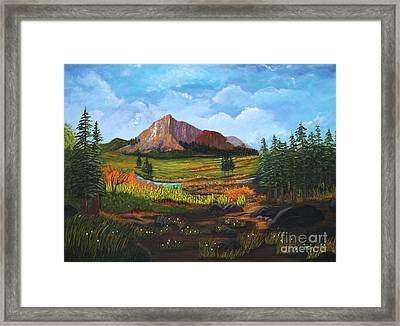 Framed Print featuring the painting Mountain Meadows by Myrna Walsh