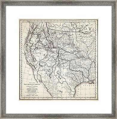 Mountain Men Fur Trapping Frontier Map  1807 - 1848 Framed Print by Daniel Hagerman