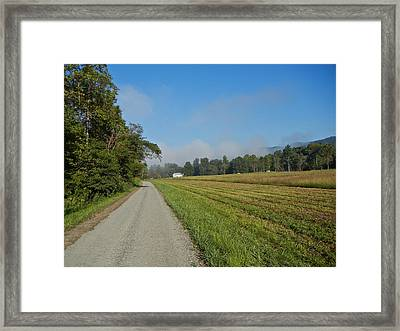 Mountain Mist On Country Road Framed Print by Alan Olansky