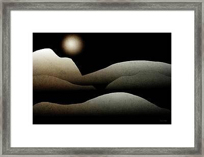 Mountain Moonlight Landscape Art Framed Print