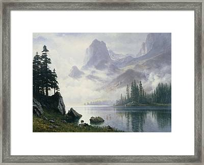 Mountain Out Of The Mist Framed Print by Albert Bierstadt