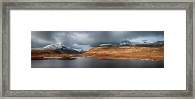 Framed Print featuring the photograph Mountain Pano From Knockan Crag by Grant Glendinning