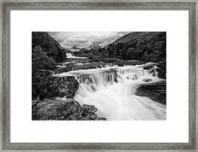 Mountain Paradise In Black And White Framed Print by Mark Kiver