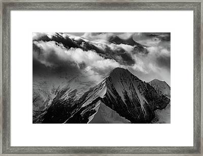 Mountain Peak In Black And White Framed Print