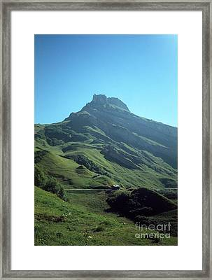 Mountain Peak With Farms Framed Print