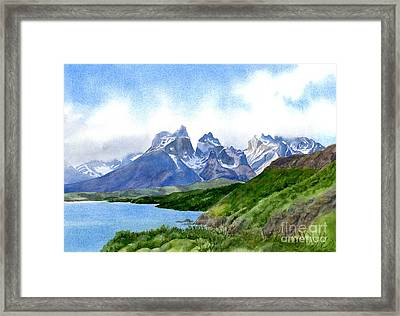Mountain Peaks At Torres Del Paine Framed Print
