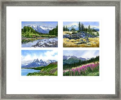 Mountain Peaks Poster Framed Print by Sharon Freeman