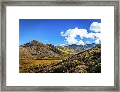 Framed Print featuring the photograph Mountain Range And Valleys In Kerry In Ireland On A Sunny Day Wi by Semmick Photo