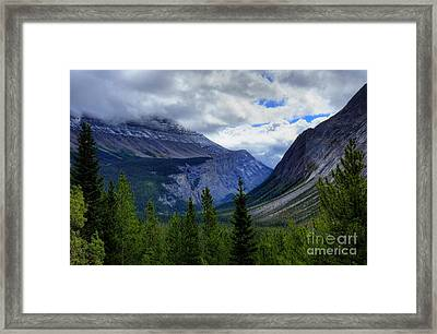 Mountain Ranges South Of Jasper Framed Print by W