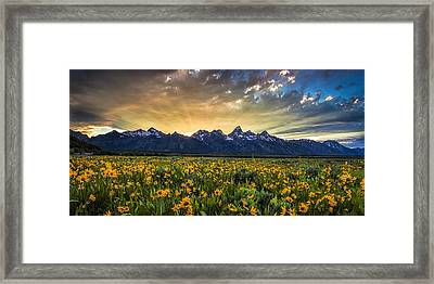 Mountain Rays Panorama Framed Print