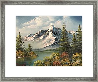 Mountain Reflections  Framed Print by Paintings by Justin Wozniak
