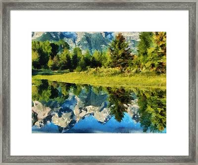 Mountain Reflections Framed Print by Russ Harris
