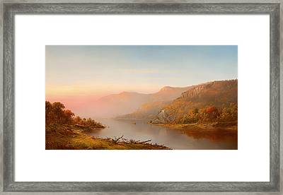 mountain river scene autumn of the Hudson Framed Print