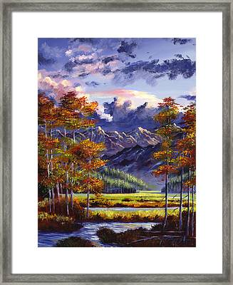 Mountain River Valley Framed Print by David Lloyd Glover