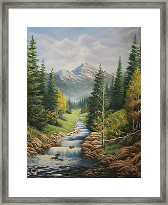 Mountain River View Framed Print by Diana Miller