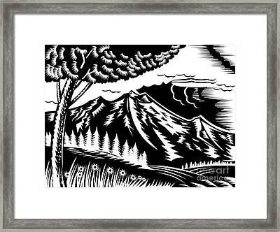 Mountain Scene Woodcut Framed Print by Aloysius Patrimonio