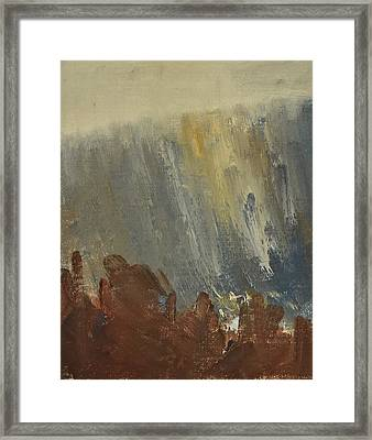 Mountain Side In Autumn Mist. Up To 90x120 Cm Framed Print