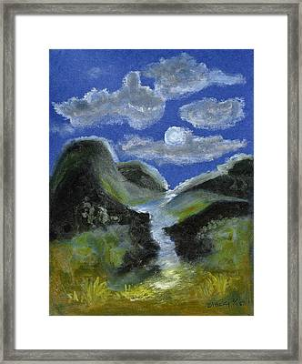 Mountain Spring In The Moonlight Framed Print by Donna Blackhall