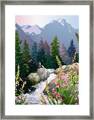Framed Print featuring the digital art Mountain Stream by Anne Gifford