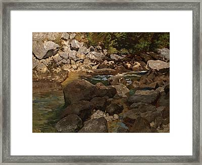 Mountain Stream With Boulders Framed Print by Mountain Dreams