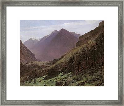 Mountain Study Framed Print by Alexandre Calame