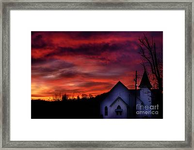 Framed Print featuring the photograph Mountain Sunrise And Church by Thomas R Fletcher