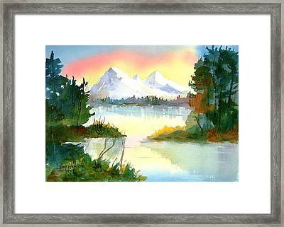Mountain Sunset Framed Print by Larry Hamilton
