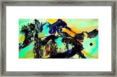 Framed Print featuring the digital art Mountain Top Spot by Mary Schiros