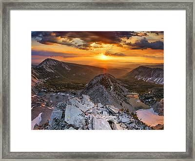 Mountain Top Sunrise Framed Print by Leland D Howard