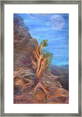 Mountain Tree With Moon Framed Print