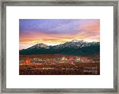 Mountain Twilight Of Reno Nevada Framed Print by Vance Fox