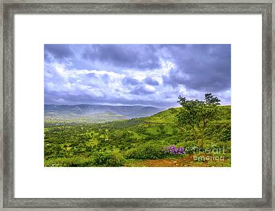 Framed Print featuring the photograph Mountain View by Charuhas Images