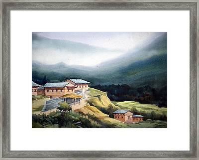 Mountain Village From Top View Framed Print by Samiran Sarkar