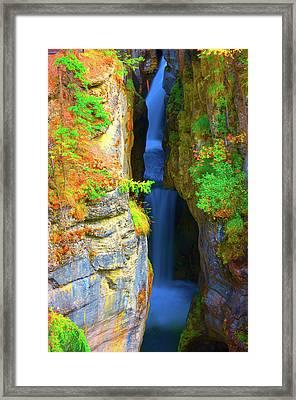 Mountain Waterfall Framed Print by Paul Kloschinsky