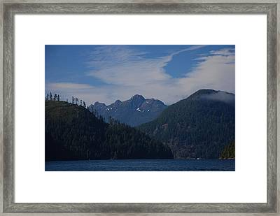 Mountain With Summer Snow Framed Print