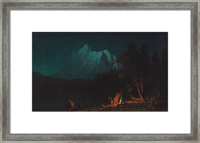 Mountainous Landscape By Moonlight Framed Print