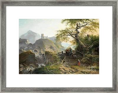 Mountainous Landscape Near Dusseldorf Framed Print by Celestial Images
