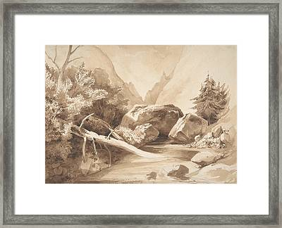 Mountainous Landscape With A Brook Framed Print