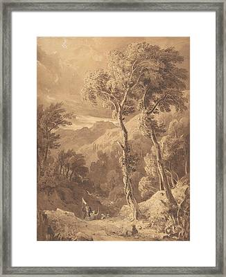 Mountainous Landscape With A Party Of Travellers Framed Print