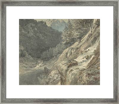 Mountainous Landscape With A River Framed Print