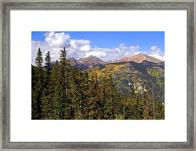 Mountains Aglow Framed Print by Marty Koch