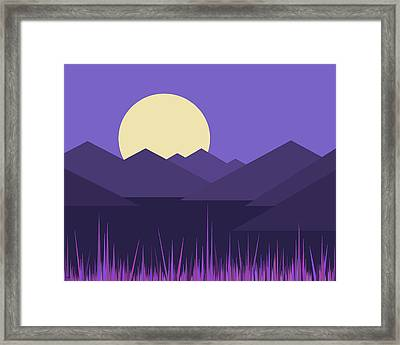 Framed Print featuring the digital art Mountains And A Lavender Sky by Val Arie