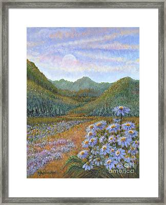 Mountains And Asters Framed Print