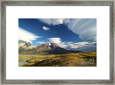 Mountains And Clouds In Patagonia Framed Print