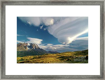 Mountains And Lenticular Cloud In Patagonia Framed Print