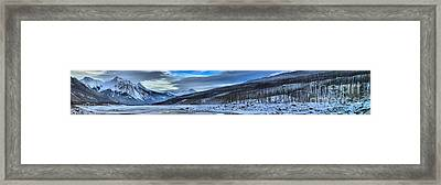 Mountains And Medicine Lake Framed Print by Adam Jewell