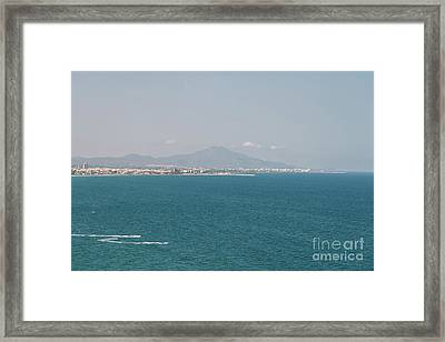 Mountains And Mediterranean Sea Aerial View In Spain Framed Print