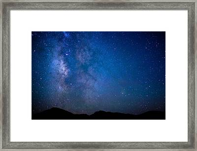 Mountains And Milky Way Framed Print